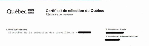 Quebec Selection Certificate